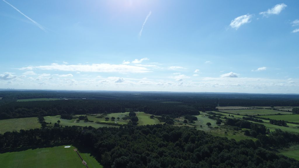 aerial shot over Clumber Park